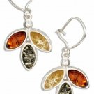 Sterling Silver Multi-Color Marquise Amber Earrings