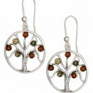 Sterling Silver Multi-Color Baltic Amber Tree Earrings