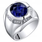 Men's Sterling Silver 6 Carat Created Sapphire Octagon Ring