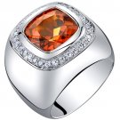 Men's Sterling Silver 7.50 Carats Created Padparadscha Sapphire Ring
