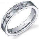 Men's 5mm Cobalt Classic 3 Stone Platinum Finish Ring