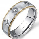 Men's 8mm Titanium 3 Stone Gold Tone Wedding Ring