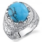 Men's Sterling Silver Medieval Synthetic Turquoise Ring