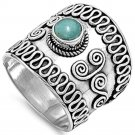 Sterling Silver Bali Turquoise Braided Band Ring