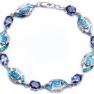 Sterling Silver Tanzanite, Blue Opal and CZ Bracelet