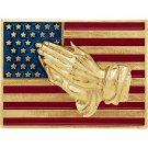 14K Yellow or White Gold American Flag with Praying Hands Enamel Lapel Pin