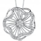 Sterling Silver Scallop Floral Design Cubic Zirconia Pendant