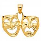14K Yellow Gold Comedy-Tragedy Drama Mask Pendant