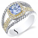 Sterling Silver Simulated Tanzanite & CZ Ring