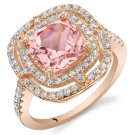 Rose Tone Sterling Silver Simulated Morganite Double Halo Ring