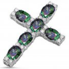 Sterling Silver Rainbow Cubic Zirconia Cross Pendant