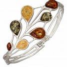 Sterling Silver Multi-Color Amber Teardrop Hinged Bracelet