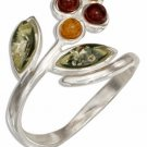 Sterling Silver Multi-Color Amber Flower Bypass Ring