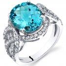 14K White Gold 4 Carat Swiss Blue Topaz Halo Statement Ring