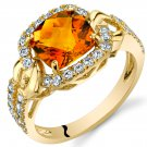 14K Yellow Gold 2 Carat Citrine Cushion Cut Halo Ring