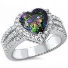 Sterling Silver 3 Carat Rainbow Topaz & Cubic Zirconia Heart Shape Ring