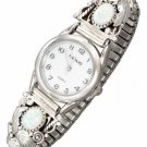 Ladies Sterling Silver Southwest Synthetic White Opal Watch