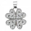14K White Gold Four Hearts Clover Cubic Zirconia Pendant