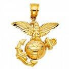 14K Yellow Gold USA Eagle & Anchor Pendant