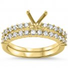 14K Yellow Gold .59 Carat Diamond Semi Mount Bridal Set