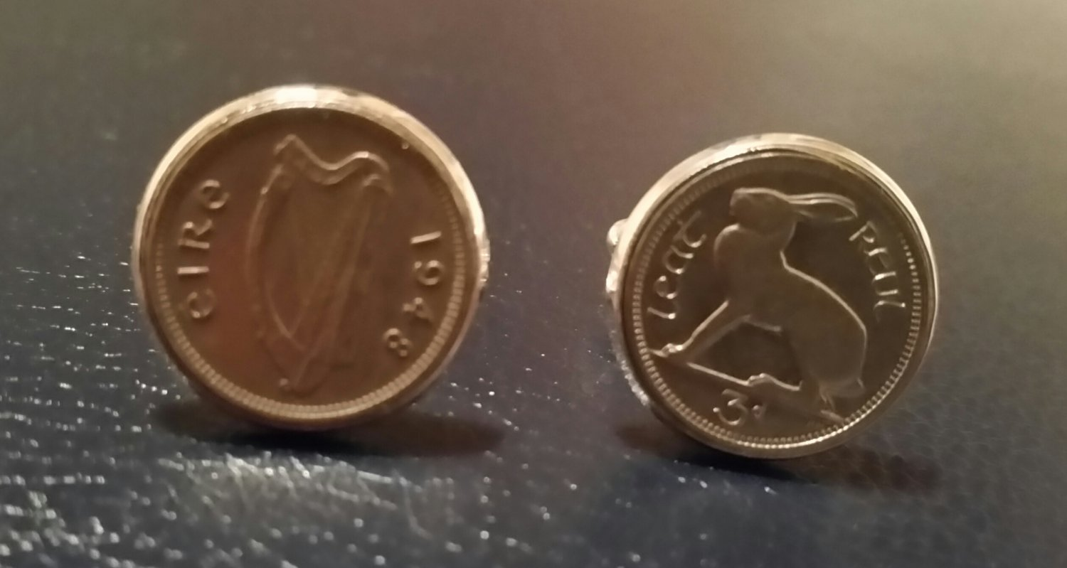 Irish pre-decimal coin jewellery Cufflinks