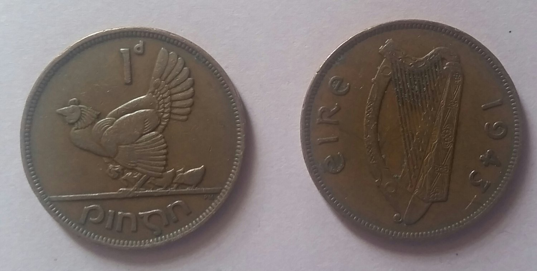 Set of 21943 irish pre-decimal pingin / pennys