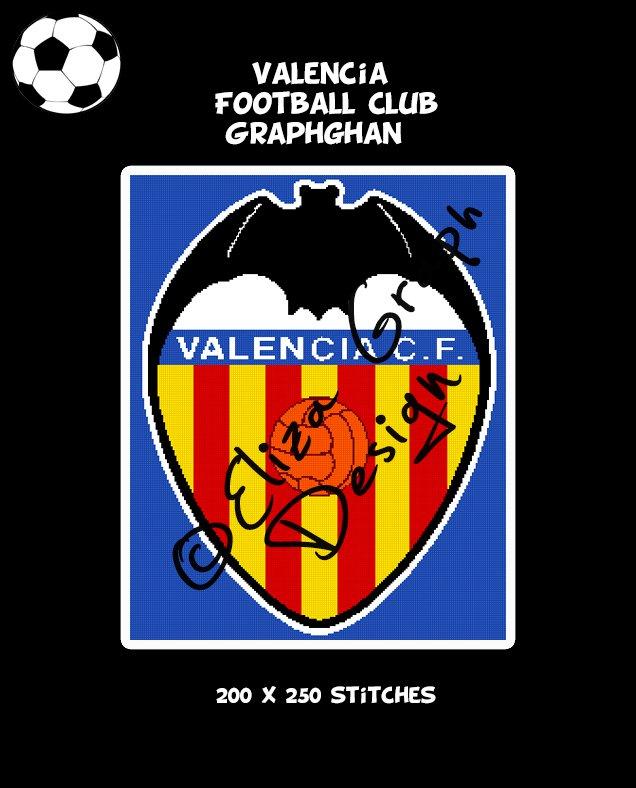 Valencia Football Club logo crochet graphghan pattern