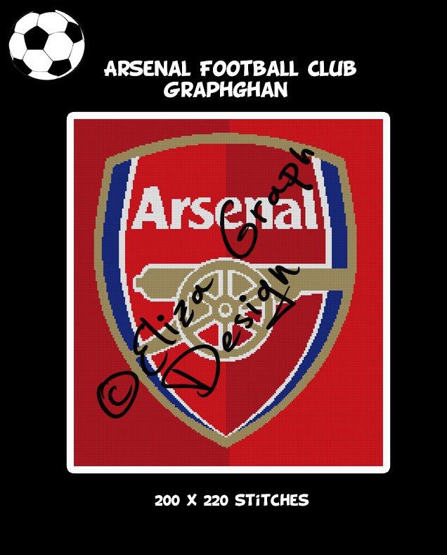 Arsenal Football Club logo crochet graphghan pattern