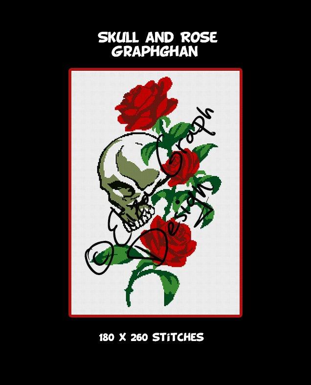 Skull and Rose crochet graphghan blanket pattern