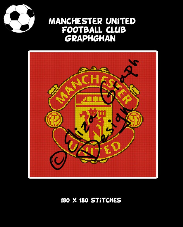 Manchester United Football Club logo crochet graphghan blanket pattern