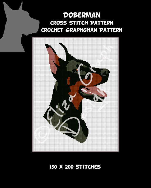 Doberman CROSS STITCH Pattern, CROCHET Graphghan Blanket Pattern