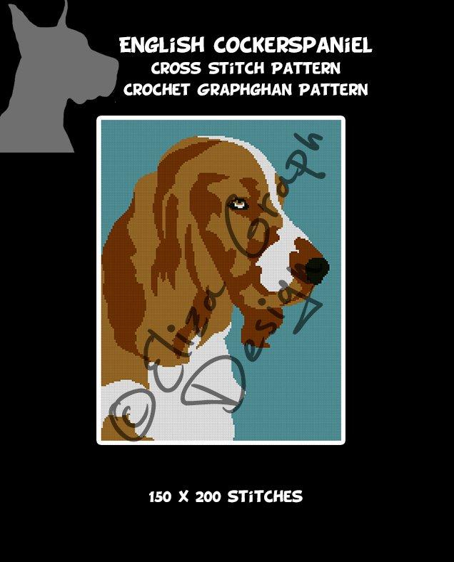 English Cocker Spaniel CROSS STITCH Pattern, CROCHET Graphghan Blanket Pattern
