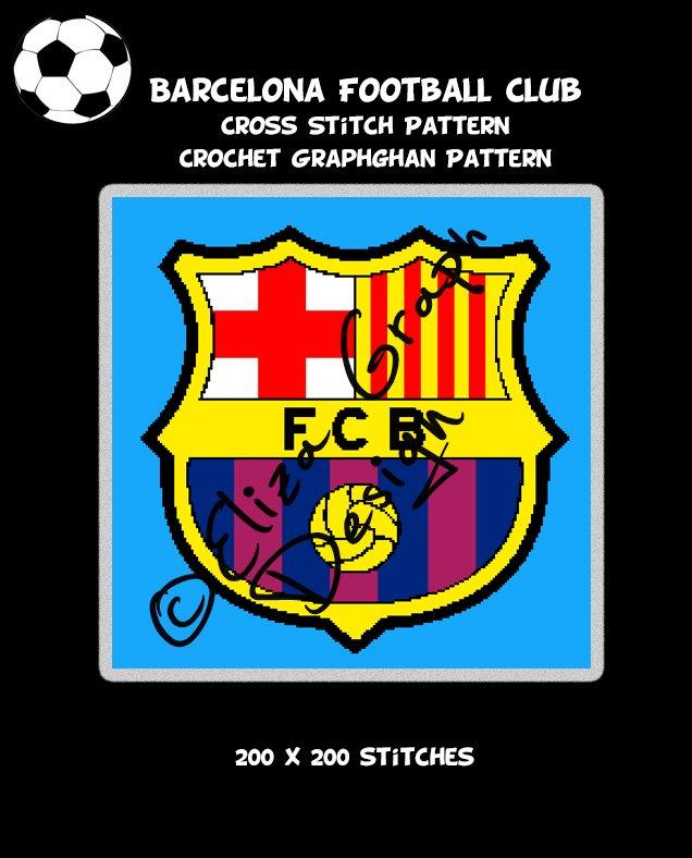 Barcelona Football Club logo CROSS STITCH Pattern, CROCHET Graphghan Blanket Pattern