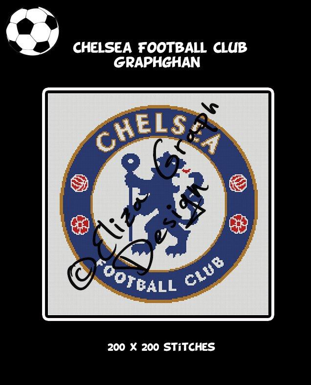 Chelsea Football Club logo crochet graphghan blanket pattern
