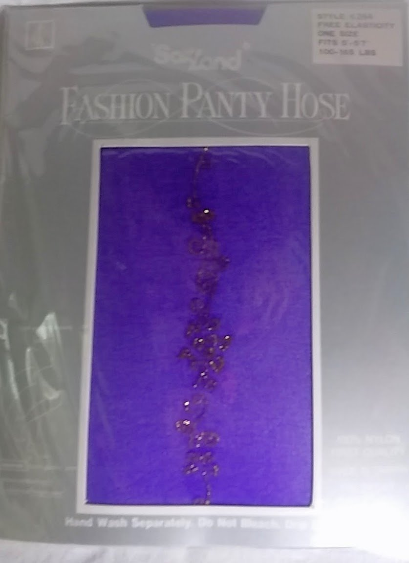 Fashion panty hose purple  with gold glitter design 100% nylon - soxland