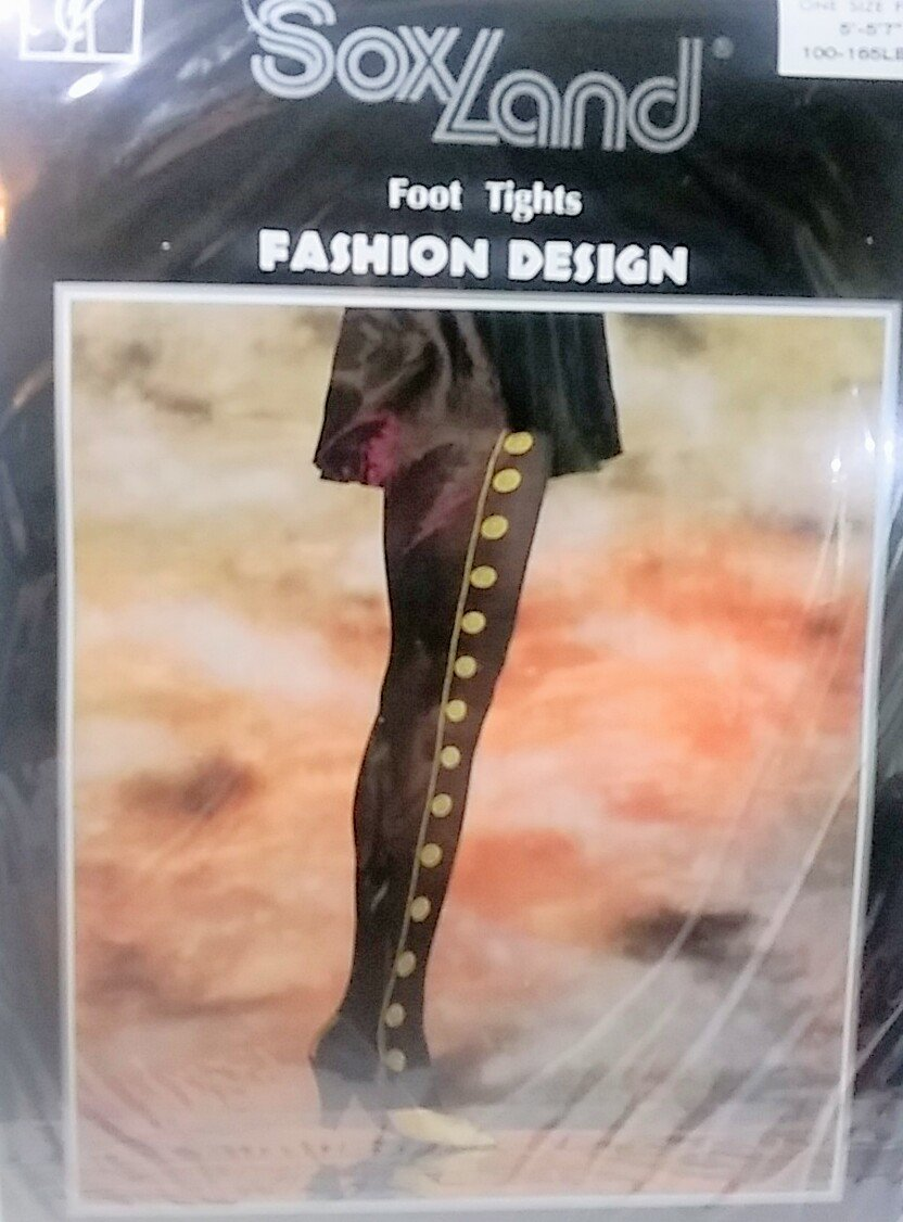 Fashion tights black with gold design 100% nylon Hosiery pantyhose