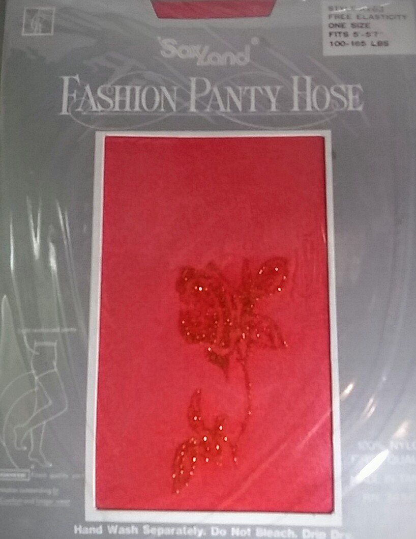 soxland Fashion panty hose red  with gold glitter rose 100% nylon Soxland Hosiery pantyhose