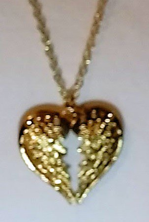 necklace with 2 wings in the shape of a heart - 18 inch chain