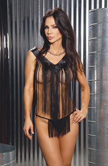 2 Piece Set.  Leather V-Neck Baby Doll w/ Fringe Size: O/S Queen (Plus Size Lingerie)