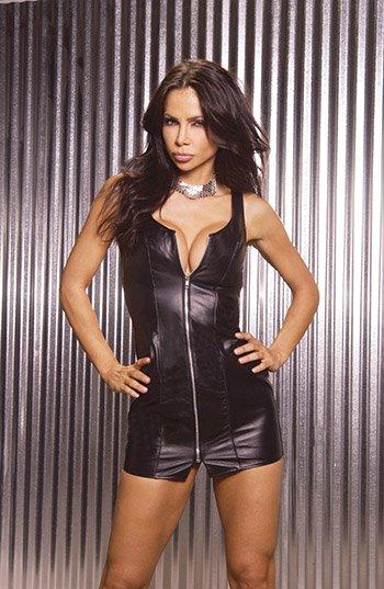 Zip Front Leather Mini Dress. Leather Back Size: 3X  (Plus Size Lingerie)