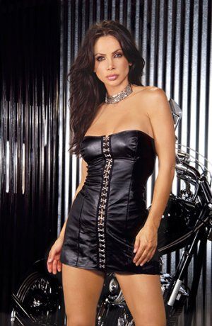 Strapless Leather Mini Dress w/ Hook and Eye Front Size: 3X (Plus Size Lingerie)