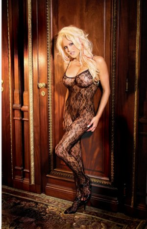 Rose lace bodystocking with open crotch. O/S Queen (Plus Size Lingerie)