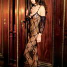 Bow tie lace bodystocking with attached sleeves and open crotch.  O/S Queen (Plus Size Lingerie)