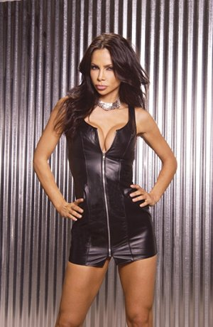 Zip Front Leather Mini Dress. Leather Back Size: 2X (Plus Size Lingerie)