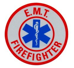 """3"""" Round Reflective Decal - EMT FIREFIGHTER"""