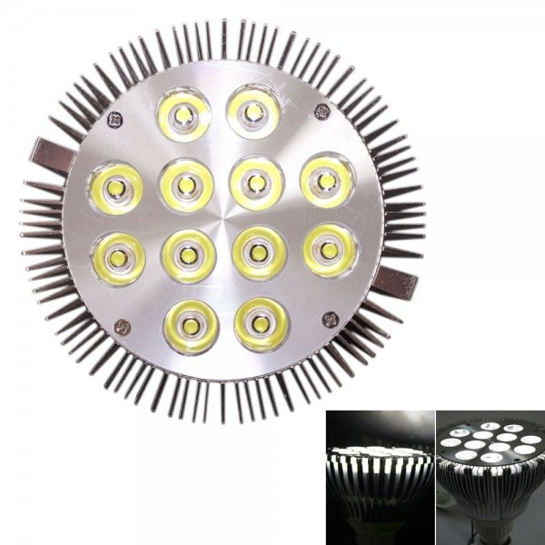 E27 12W 1200LM PAR38 6000K Pure White High Power Spotlight LED Bulb (85-265V)