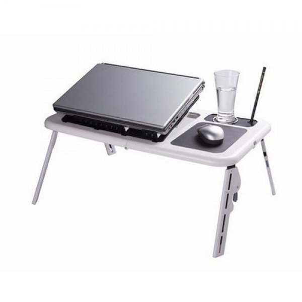New Adjustable Foldable Laptop Desk Table with Cooling Fan Stand Portable Bed
