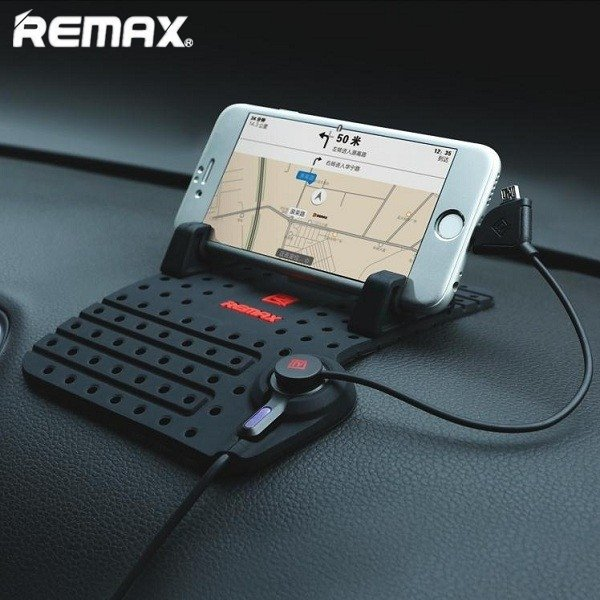REMAX Soft Silicone Magnetic Adsorption Car Charging Stand Holder Mount for iPhone & Android Black