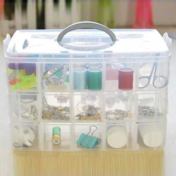 3 Layer 30 Compartments Plastic Storage Box Cosmetic Case