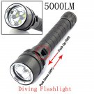 XM-L2 5000LM 100M Waterproof High Power White LED Diving Flashlight Black